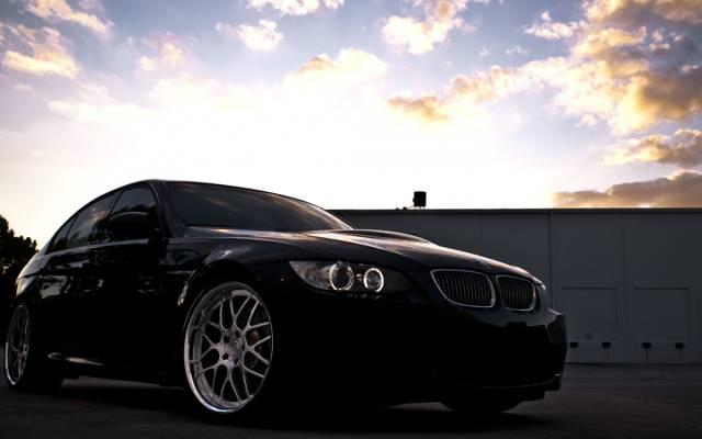宝马,轿车,黑色,黑色,E90,天空,宝马,云,日落
