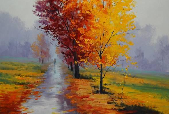 艺术,artsaus,路人,秋天,胡同,黄叶,跟踪,景观