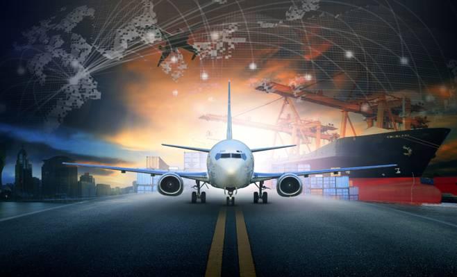 起重机,晚上,港口,城市,跑道,渲染,飞机,集装箱,船舶,乘客