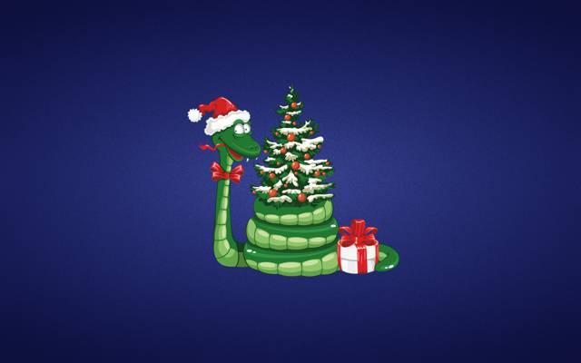礼品,玩具,紫色背景,圣诞帽子,新的一年,蛇,树,新年,弓,绿色