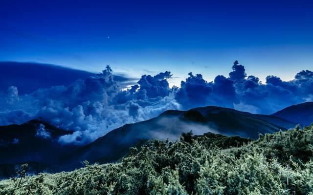 云,波,山,星,海,日落,台湾,夜晚,月光