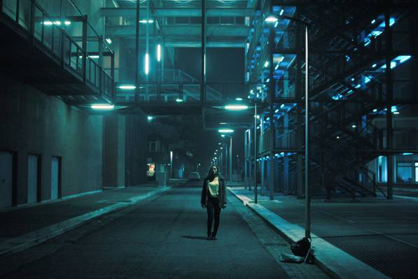 建筑,灯柱,晚上,女孩,灯,城市景观,失去了,城市场景,街道
