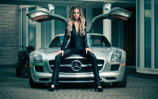 华丽,女孩,异国情调的车,杰森Harynuk,海蒂,奔驰SLS,模型