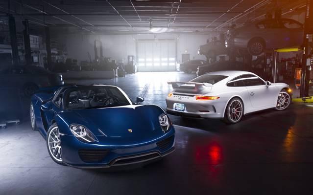 GT3,车库,Spyder,蓝色,918,汽车,白色,后方,前面,超级跑车,保时捷