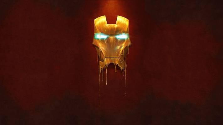 男人,铁,铁,液体,黄金,人,金属,面具