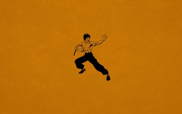 极简主义,李小龙,功夫,暗橙色,双节棍,李小龙