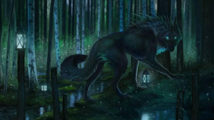 修饰,森林,灯笼,狼,自然,由Aivoree,晚上