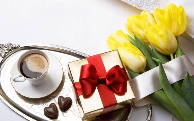 礼物,糖果,浪漫,情人节,咖啡,浪漫,郁金香,爱情