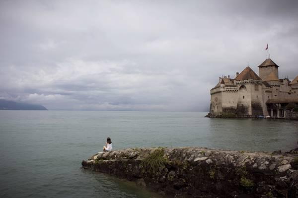 湖,女孩,城堡