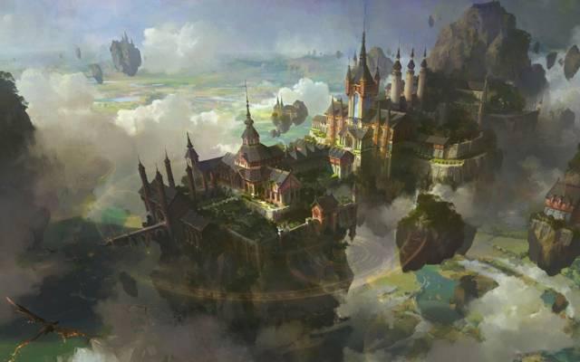景观,群岛,云,鸟,城堡,城市,魔术,五角星形,飞行