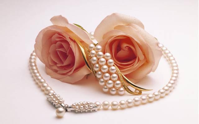 壁纸胸针,两个,玫瑰,珍珠