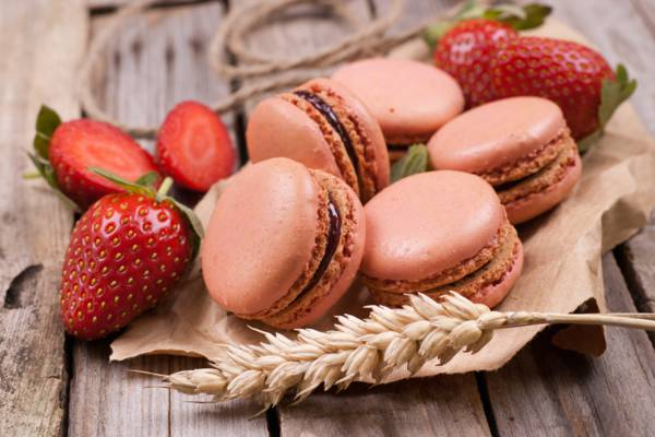 浆果,穗,蛋白杏仁饼干,绳子,饼干,草莓