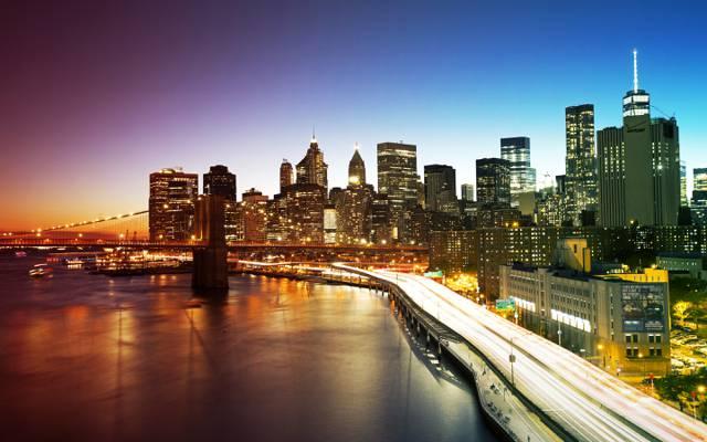 曼哈顿,摩天大楼,桥,纽约市,家,纽约,灯,晚上,长廊,美国