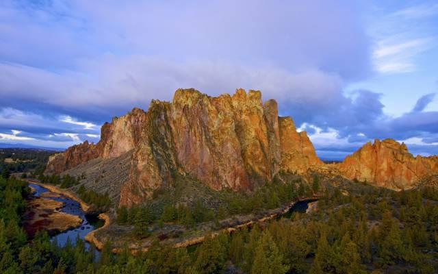 山,弯曲的河,早晨,树,蜿蜒,俄勒冈州,河,云,美国