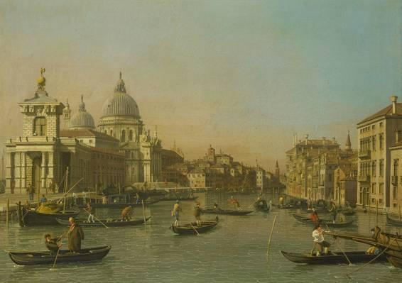 卡纳莱托,大运河,威尼斯,贡多拉,船,城市景观,图片的入口