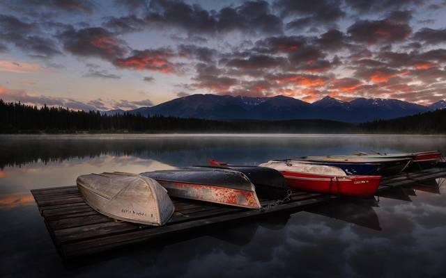 船,湖,山,自然,景观,日落