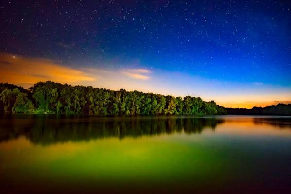 水的身体与绿色下蓝蓝的天空高清壁纸