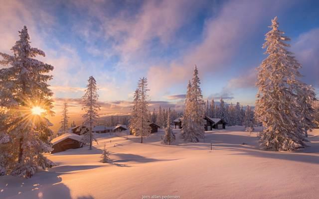 太阳,光线,光,雪,挪威,冬天,家
