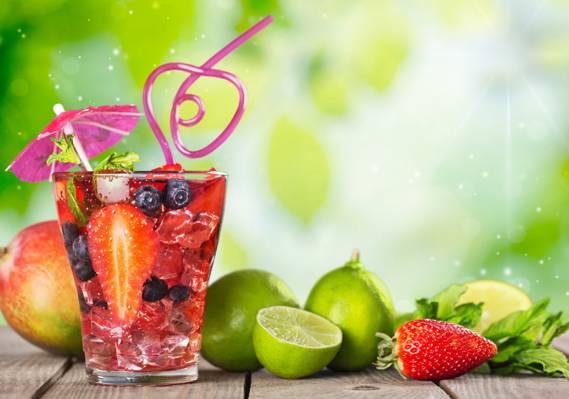 水果,饮料,鸡尾酒,鸡尾酒,水果,夏天,热带,新鲜