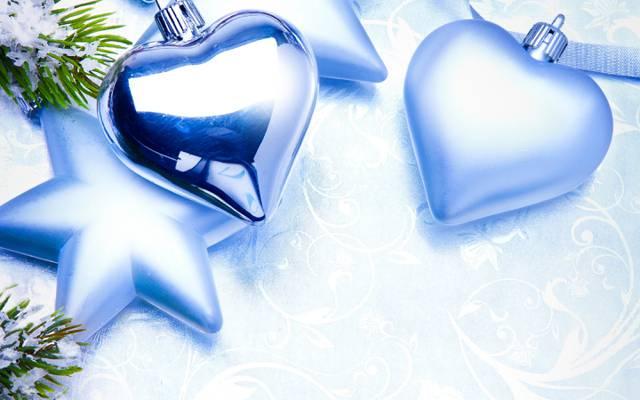 壁纸新年,心,玩具,圣诞节,圣诞节,蓝色,圣诞节,明星,风景