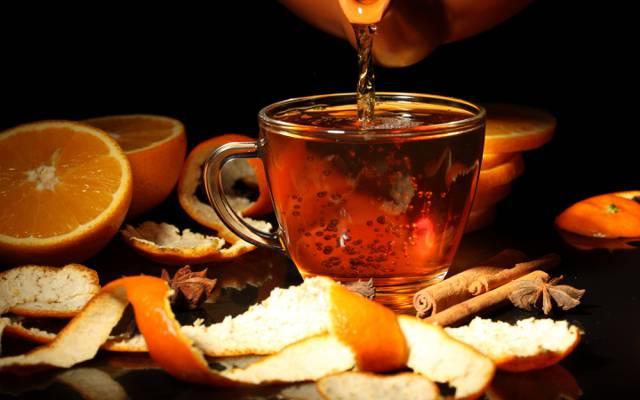 茶壶,八角,果皮,杯,橘子,饮料,肉桂