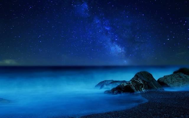 海,夜,银河,雾,天空,星星