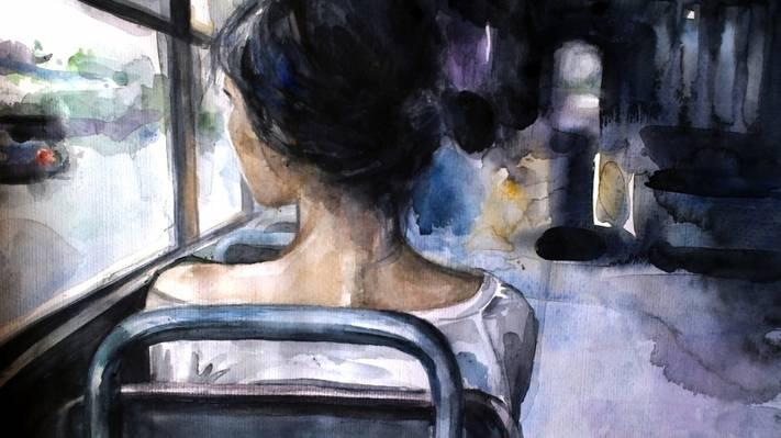 壁纸寂寞,巴士,女孩,艺术