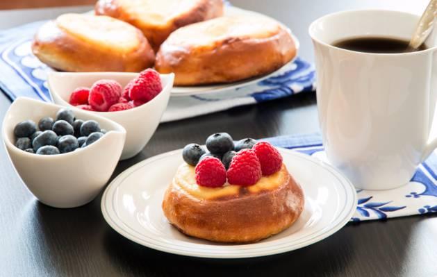 覆盆子,杯,蓝莓,杯,蛋糕,咖啡,覆盆子,咖啡,蓝莓,早餐,纸杯蛋糕,早餐