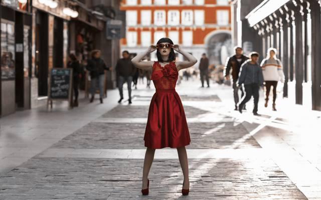 风格,裙子,女孩,在红色,鞋子,眼镜,城市