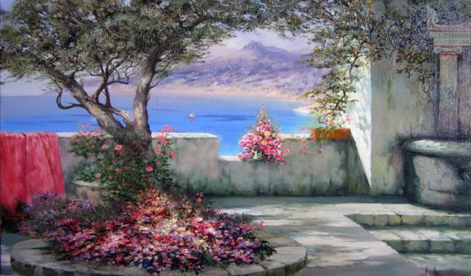 南部景观,鲜花,克里米亚,海,树,米留科夫亚历山大,阴影,夏天,欢乐,太阳,风帆