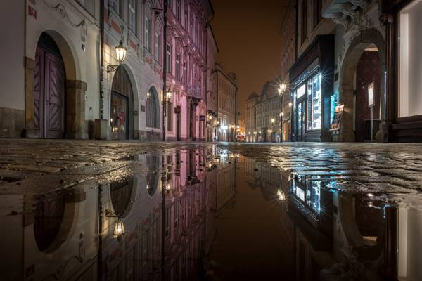反射,家,灯,街,水坑,水,布拉格,夜,捷克共和国,灯