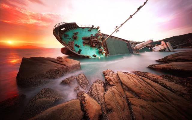 海,港,船,中国,沉船,黎明,岩石