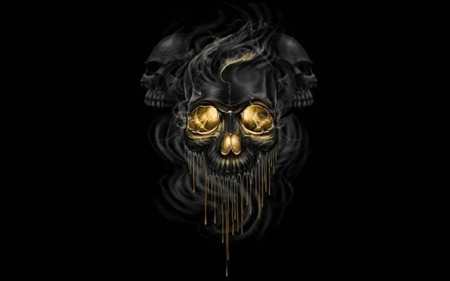 烟,头骨,艺术,黑色背景,骨架,小说