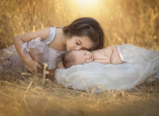 女孩,孩子,性质,婴儿,草,吻