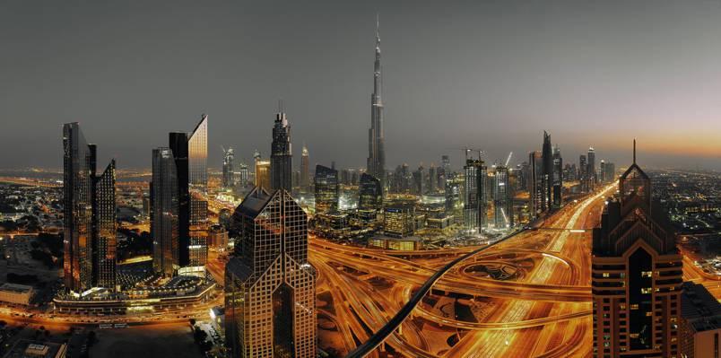 迪拜,城市,有雾,景观,云,烟,摩天大楼,旅行