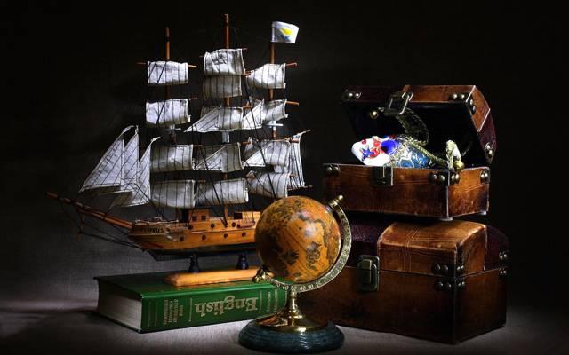 胸部,全球,字典,模型,旅程,帆船
