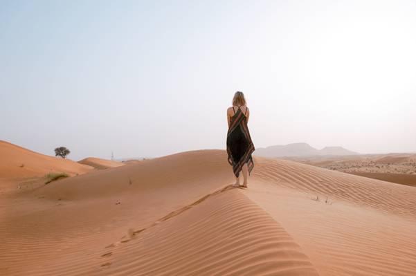 黑色和棕色的连衣裙的女人走在沙漠高清壁纸