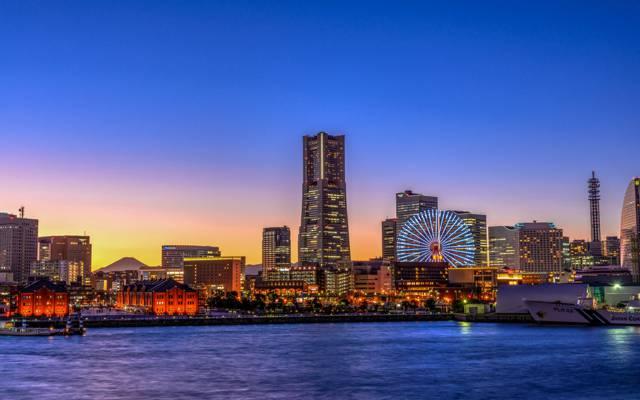 灯,摩天轮,横滨,天空,地平线,日本,日落