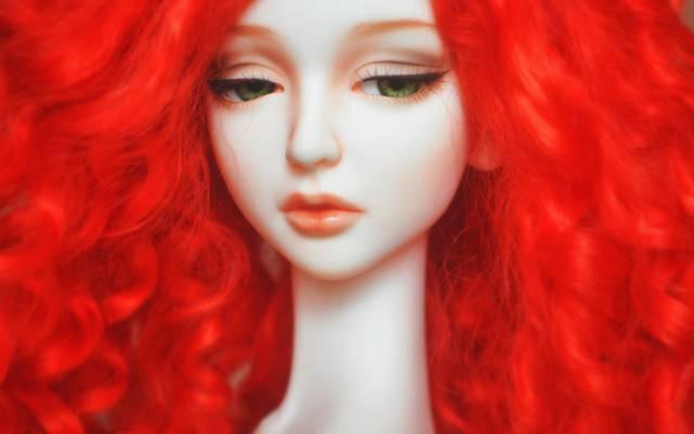 红色,洋娃娃,睫毛,悲伤,脸,头发,心情,娃娃