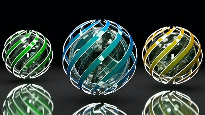 渲染,绿色,反射,三个领域,曲线,线,光的发挥,蓝色,黑色的背景,眩光,... ...  -