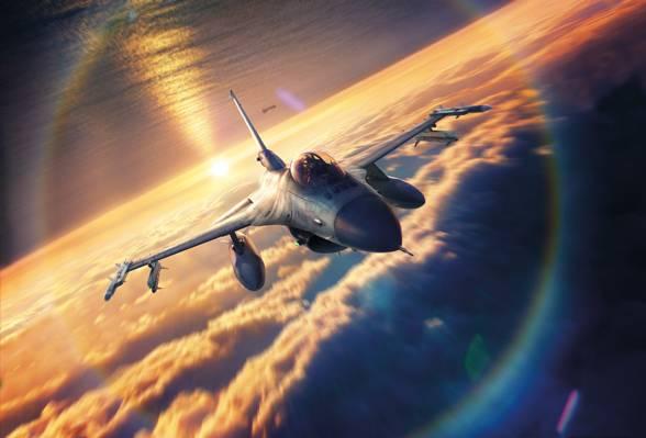 日落,绘图,天空,洛克希德F-16