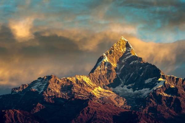 安纳布尔纳峰,山脉,喜马拉雅山,尼泊尔,早上