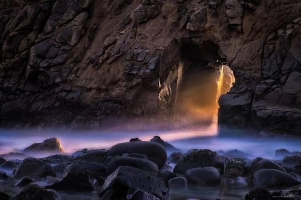 普法伊夫海滩,加利福尼亚州,大苏尔,太平洋,日落,岩石,海洋,石头