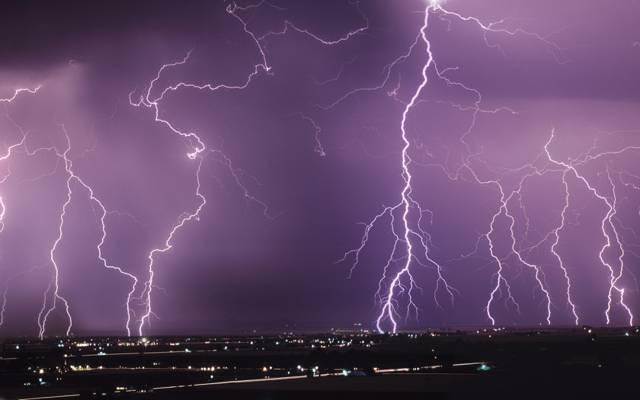 灯,拉链,风暴,闪电,查看,夜晚,城市