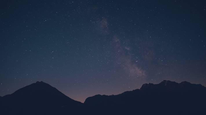 美,灯,山,夜,天空,星星