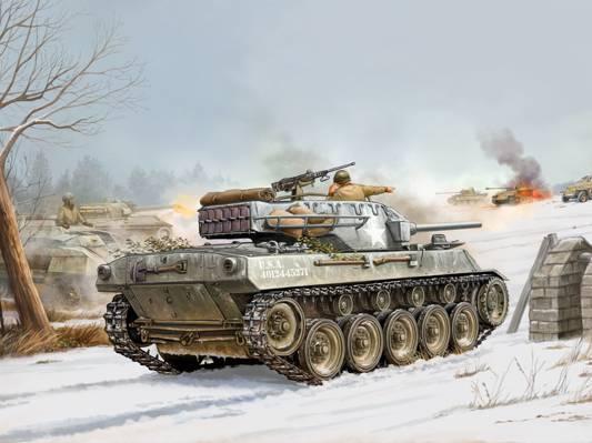 WW2。,艺术,火炮,SAU,装甲,身材,76毫米,地狱猫,战斗机,坦克,M18,枪,缩小,自走,...