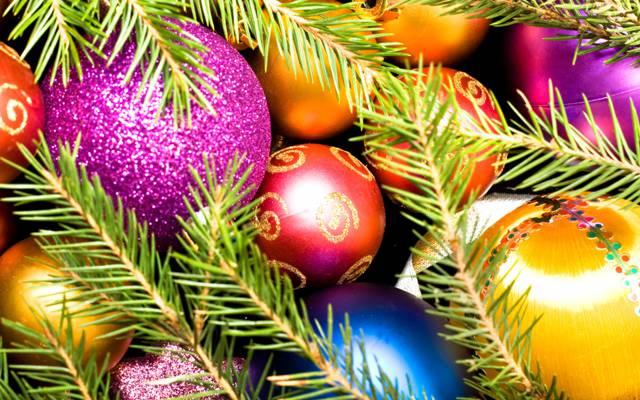 圣诞节,球,树,新的一年
