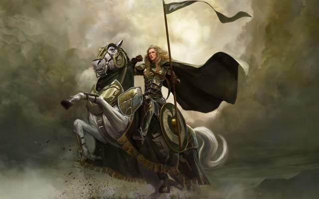 云,马,环的主,艺术,戒指,旗帜,骑手,女孩,...