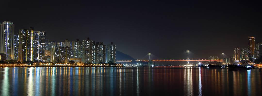 在夜间高清壁纸城市全景