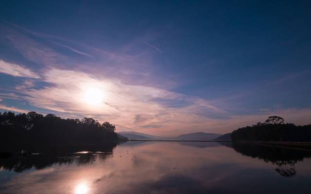 小山,早晨,湖,黎明,森林